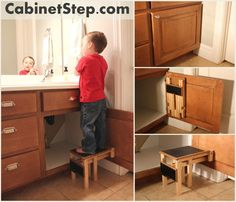 Folding Step-Stool connected to the cabinet door. Pulls down and folds up very easy! Can even hold up to 200 lbs. on the step.