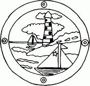 coloring picture of a lighthouse and boats since a porthole