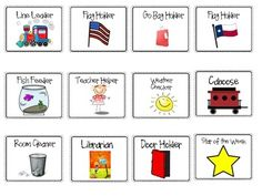 Build classroom responsibility by using these labels in a pocket chart to display your classroom helpers of the week/day.  Simply have the children place their individual picture or name card underneath or beside the job card.