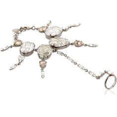 On Aura Tout Vu Women Rain Crystal Bracelet & Ring ($580) ❤ liked on Polyvore featuring jewelry, rings, silver, adjustable rings, crystal rings, nickel free jewelry, on aura tout vu and clasp ring