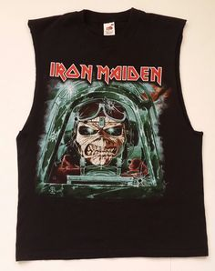 Iron Maiden 2013 - Maiden England Tour 2013 Shirt - Tailgunner and Aces High  On its back : Tailgunner. On its front : Aces high. IRON MAIDEN Concert Tour T-Shirt. Overall it is in great condition and color due to its age. Pre owned, used (Previous owner was a Harley rider and he removed sleeves). | eBay!