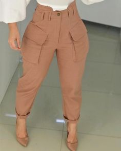 Shop High Waist Pocket Design Cargo Casual Pants right now, get great deals at Chiquedoll. Trend Fashion, Fashion Pants, Fashion Outfits, Womens Fashion, Pants For Women, Clothes For Women, Looks Vintage, Vintage Diy, Mode Style