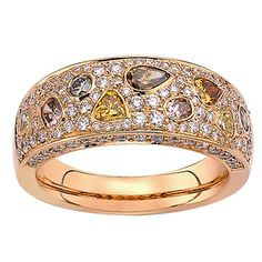 18ct Rose Gold Multi Coloured Natural Diamond Ring