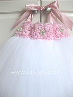 Pastel Pink / White Tutu Flower Girl Dress
