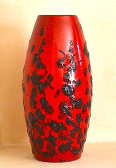 Vintage Mod Art Pottery Vase  Red with Black Lava Glaze MidCentury Modern Groovy Decor - A big honkin' Ceramic piece to ignite any room!