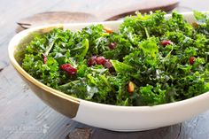 Massaged Kale Salad with Almonds and Cranberries - This was delicious! I kept going back for just a few more bites, and before I knew it, it was all gone! Paleo Recipes, Real Food Recipes, Paleo Food, Paleo Diet, Healthy Food, Free Recipes, Massaged Kale Salad, Kale Salad Recipes, Clean Eating
