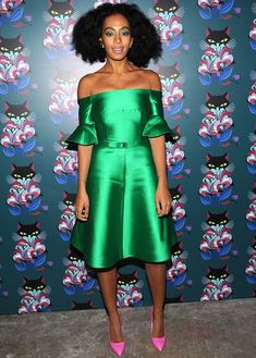 That's more like it: Solange was back to her signature bright colours for the screening of the seventh edition of Miu Miu Women's Tales in t...