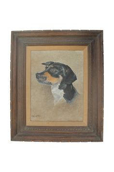 Vintage Dachshund Portrait Painting on Chairish.com
