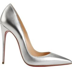 So Kate Silver Leather Pumps Christian Louboutin ❤ liked on Polyvore featuring shoes, pumps, silver leather pumps, silver shoes, leather pumps, leather footwear and genuine leather shoes