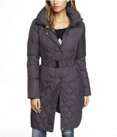 DOWN FILLED BELTED PUFFER COAT   Express