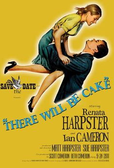 They based their save the dates off the movie poster for It's a Wonderful Life! OH MY GOODNESS YES!