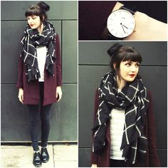 Daniel Wellington 'Classic Sheffield' Watch, Miss Patina Burgundy Darlington Coat, Black Five Clothing White Stripe Tee