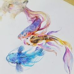 ~~ paintings Koi Fish (first-time ever) ~~ #wip #watercolor #fish