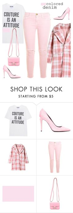 """colored denim"" by katymill ❤ liked on Polyvore featuring Moschino, Alexander Wang, Current/Elliott, Hermès, Pink, coloredjeans and coloreddenim"