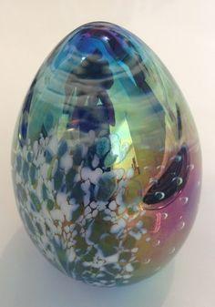 Ges 92 Gl Eye Studio Art Dichroic Iridescent Egg Shaped Paperweight