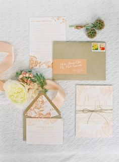 Peach botanical invites: http://www.stylemepretty.com/2014/03/10/peach-inspired-farm-wedding-at-carneros-inn/ | Photography: Jen Huang Photography - http://jenhuangphotography.com/