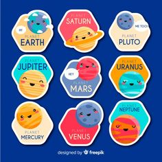 Kids Stickers, Anime Stickers, Cute Birthday Quotes, Pluto Planet, Doodle, Space Theme, Class Projects, Free Graphics, Activities For Kids