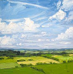 Halima Washington-Dixon: 'Wind Swept Clouds', oil on board, 16 x 16 inches