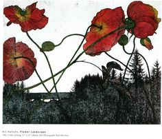 This guy is pretty cool. His name is Art Hansen and I found him in a book of contemporary printmakers from the Northwest. Margaret Preston, Flower Landscape, Pretty Cool, Flower Art, Printmaking, Poppies, Beautiful Pictures, Illustration Art, Watercolor