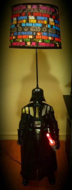 """Star Wars Darth Vader 52"""" Floor Lamp, Lampshade w/ 9"""" Lightsaber on ebay $199"""