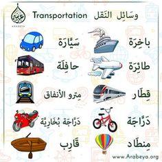 Transportation in Arabic Language وسائل النقل Arabic Sentences, Arabic Phrases, Arabic Words, In Arabic, Arabic Alphabet Chart, Arabic Alphabet For Kids, Modern Standard Arabic, Spoken Arabic, Learn Arabic Online