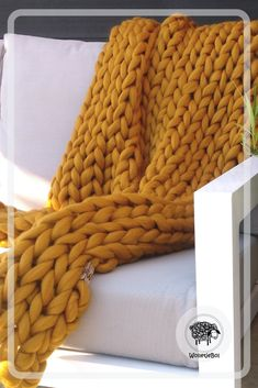 Throw dark ochre (organic wool) WolletjeBol: ochre yellow chunky knit throw made of organic mer Yellow Throw Blanket, Chunky Knit Throw Blanket, Giant Knit Blanket, Plaid Blanket, Knitted Blankets, Merino Wool Blanket, Cozy Blankets, Mellow Yellow, Knitting