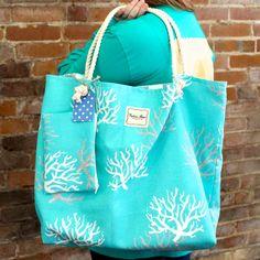 Ocean blue coral and grey REVERSIBLE Beach Bag for $70 at www.vrhandbags.com
