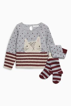 Beige Cat Jumper And Tights Set from Next