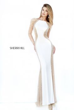 Stunning beaded illusion panel evening gown by Sherri Hill - Style 32096