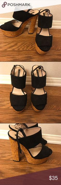 Zara Platform Sandals So cute, only worn once! Also selling them in pink, listing is in my closet. No signs of wear, perfect for spring and summer. The size says 40, but that's a 9. Comes from a clean smoke free home. Zara Shoes Heels