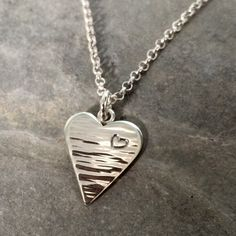 Solid sterling silver heart necklace handmade by BlueRockJewellery on Etsy