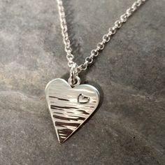 Solid sterling silver heart necklace handmade by BlueRockJewellery on Etsy