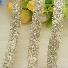 2014 New 20M/lot Golden Silk Lace Mesh Trim For Garment Accessories Decoration Sew On Guipure Lace Fabric
