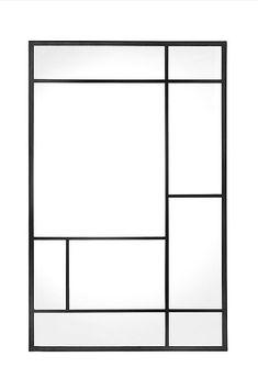 Speil Kicki med dekorative sprosser i pulverlakkert metall. MDF-plate på baksiden. Speilet kan henges vannrett, loddrett eller settes på gulvet. Nøkkelhullfester på baksiden for oppheng. Bredde 80 cm, høyde 120 cm, dybde 2 cm. Divider, Mirror, Metal, Room, Furniture, Home Decor, Industrial, Deco, Bedroom