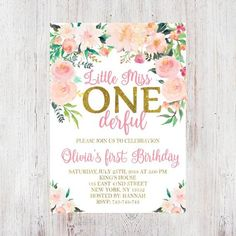Miss Onederful Birthday First Birthday Girl Miss Onederful Pink and Gold Bir. - Miss Onederful Birthday First Birthday Girl Miss Onederful Pink and Gold Birthday Invitation fo - 1st Birthday Themes Girl, 1st Birthday Party For Girls, One Year Birthday, 1st Birthday Party Ideas For Girls, Baby's First Birthday, Farm Birthday, Princess Invitation, Printable Birthday Invitations, 1st Birthday Invitations Girl