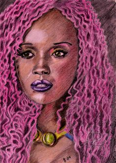 Anna Diop as Starfire/Kory Ander/Koriand'r in the 'Titans' TV series. Freehand sketch using HB, coloured pencils and eraser on white paper. Comic Book Heroes, Comic Books, Anna Diop, Titans Tv Series, Coloured Pencils, White Paper, Movies Showing, A4, Sketches