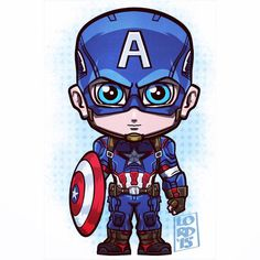 Chibi Captain America by Marvel Cartoons, Marvel Dc Comics, Marvel Heroes, Logo Super Heros, Lord Mesa Art, Chibi Marvel, Die Rächer, Marvel Drawings, Marvel Captain America