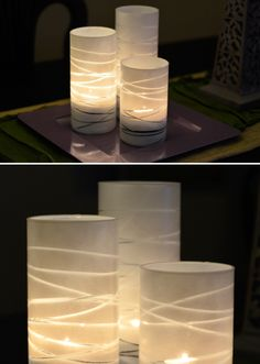 DIY striped vases/votives: I made some of these for my #wedding except I used rubberbands (instead of twine) & frosted spray paint.