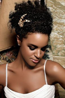 Laura Izibor - Celebrities, Updos, Kinky hair, Long hair styles, Female, Black hair hairstyle picture