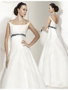 Empire Waist A-line Off-the-shoulder Elegant Satin Wedding Gown