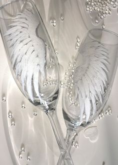 Champagne flutes, angel wings, engagement gift, wedding gift, wings, angel, romantic gift, Romeo