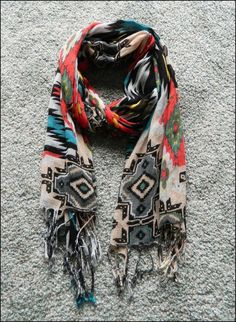This Navajo print fringe scarf would be the perfect way to dress up an outfit.