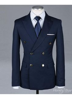 Double breasted navy suit.