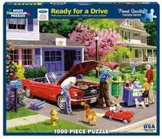 Ready for a Drive, piece puzzle. British artist Kevin Walsh has painted this view of pure Americana. On a leafy suburban street Mom replenishes the kid's lemonade stand as Junior & Dad restore a classic Mustang convertible. Illustrations Vintage, Illustration Art, Lifestyle Illustrations, Vintage Ads, Vintage Images, Vintage Soul, Vintage Pictures, Art Pictures, Kids Lemonade Stands
