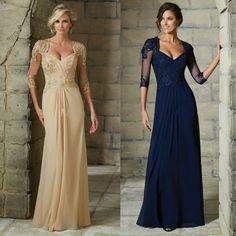 Navy Blue Champagne Chiffon Long Evening Dress Lace Appliques 3/4 Sleeve Mother Of The Bride Dresses Robe De Soiree Longue Dress