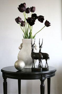 black tulips, white vase