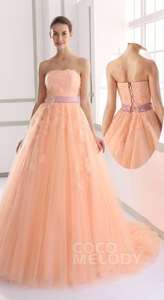 Pretty A-line Strapless Natural Tulle Orange Sleeveless Lace Up-Corset Wedding Dress with Appliques and Ribbons JUX015003 #weeddingdreses cocomelody