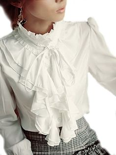 Steampunk Dragonpad Brand Noble Luxury Victorian Tops Women Shirt Ruffle Flounce Ladies Blouse (L, White)