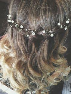 wedding hair pretty style flowers cute curly half up half down
