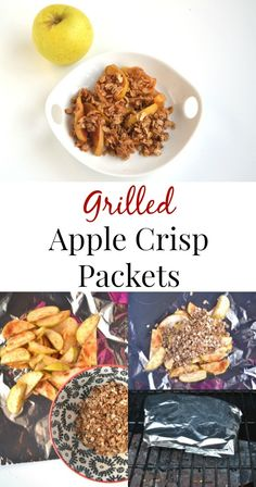 These Grilled Apple Crisp Packets are full of flavor, take about 10 minutes to make and are a healthier but still delicious dessert! Baked Apple Dessert, Apple Dessert Recipes, Apple Recipes, New Recipes, Snack Recipes, Favorite Recipes, Healthy Recipes, Snacks, Grilled Desserts